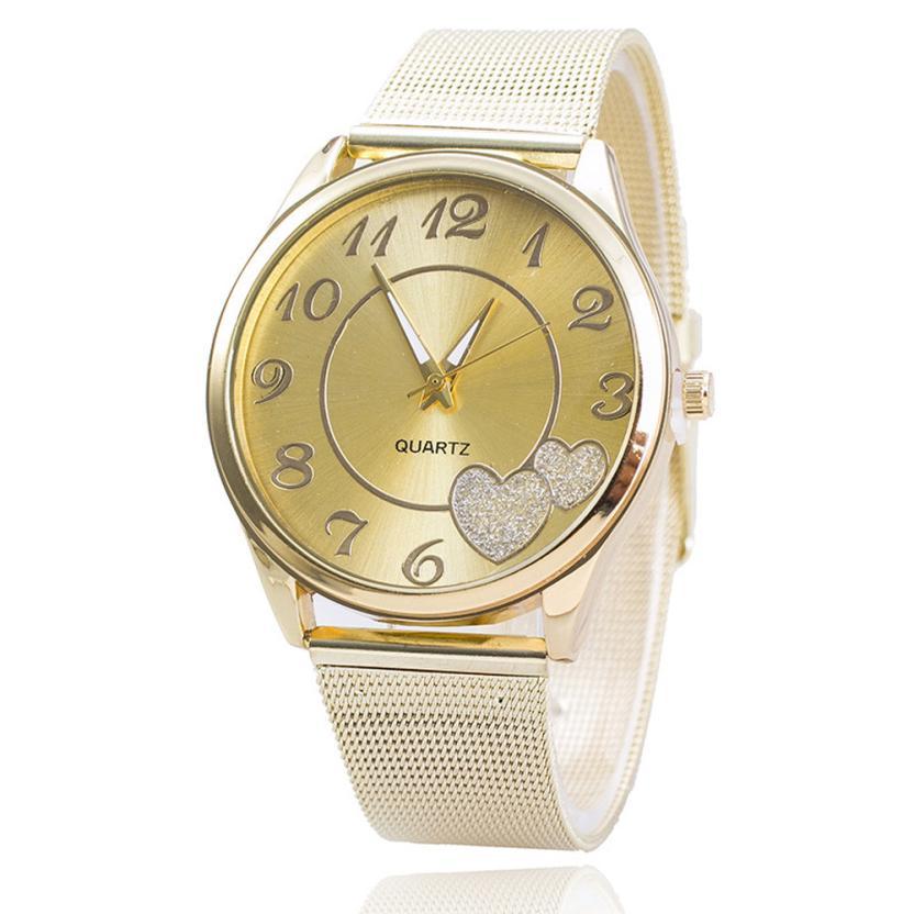 Montre Stainless Steel Ladies Watches Women Fashion Love Heart Pattern Quartz Watch Luxury Gold Mesh Band Wrist Watch Reloj #JO недорого