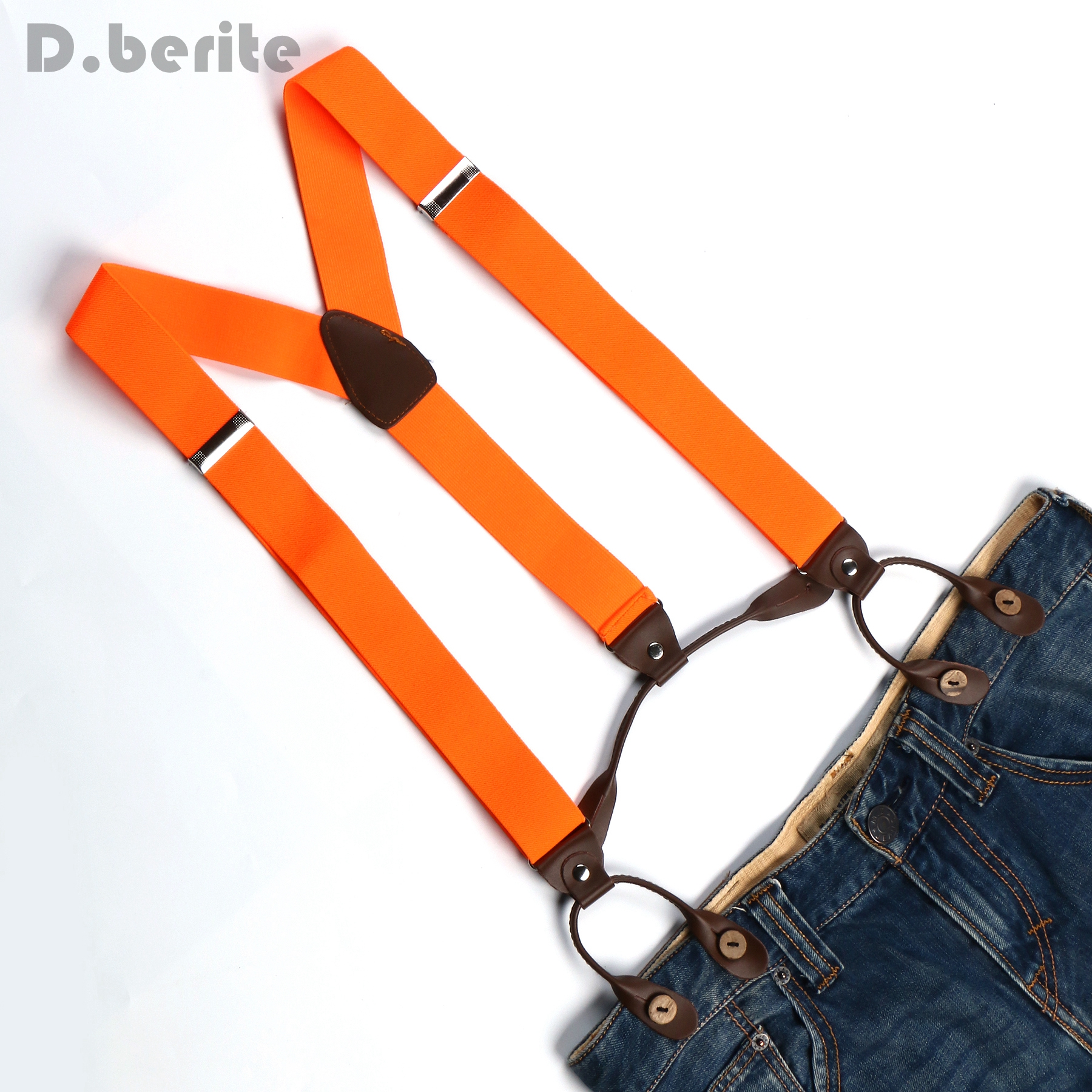 New Mens Adjustable Button holes Unisex suspenders Solid orange womens braces BD709