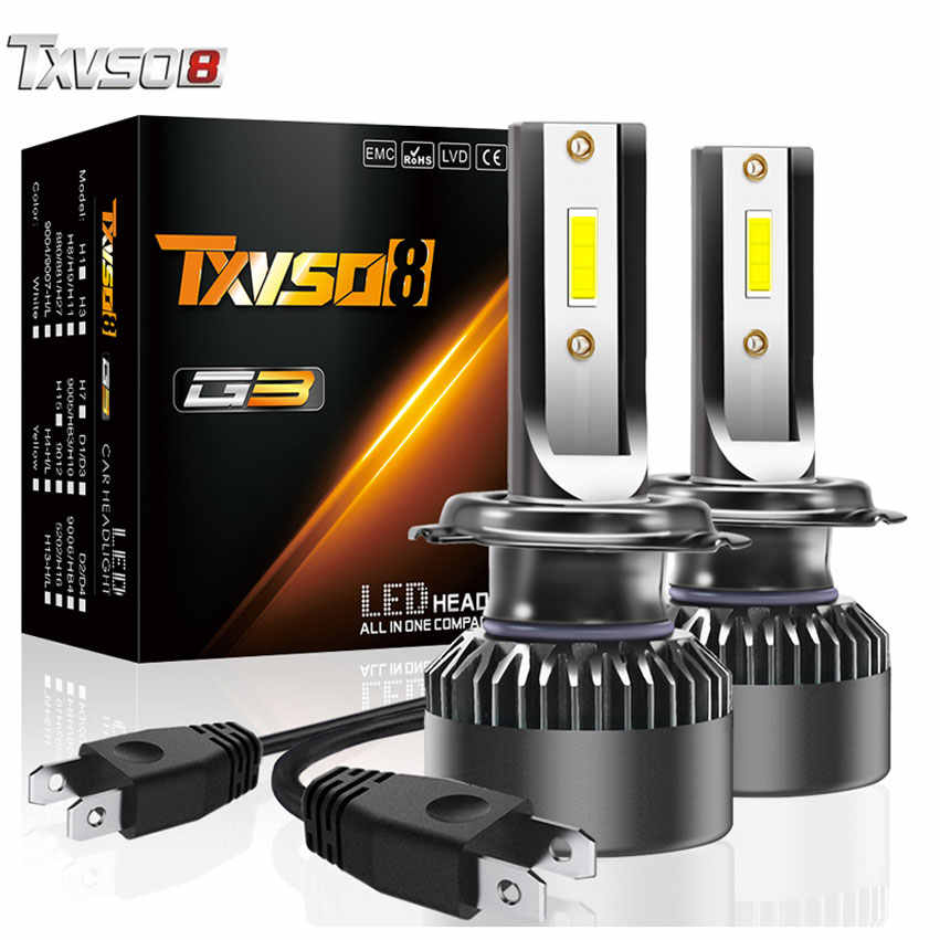 TXVSO8 H7 LED headlight bulbs 6000K CSP chips fog lights Tubor led H1 H4 H8 H11 9005 9006 10000Lm Auto headlamp For Passat B6