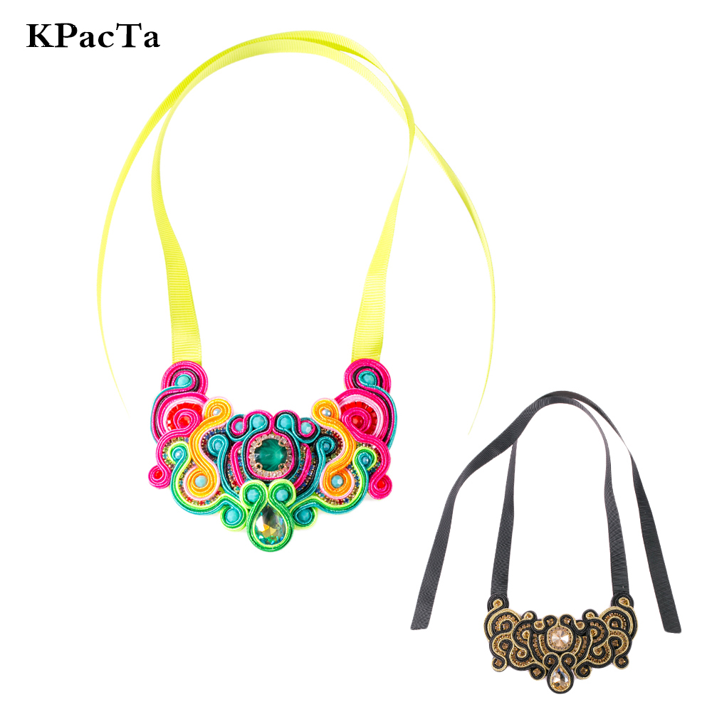 KPacT New Soutache Handmade Fashion Necklaces Ethnic Jewelry Women Crystal Decoration Pendant Necklace Party Gifts collar mujerKPacT New Soutache Handmade Fashion Necklaces Ethnic Jewelry Women Crystal Decoration Pendant Necklace Party Gifts collar mujer