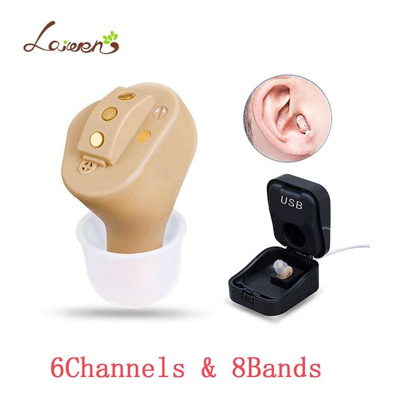 C55 Rechargeable Invisible Complet Dans L'oreille de L'aide Auditive Numérique 6 canaux 8 bandes USB Rechargeable CIC Auditifs Dropshipp