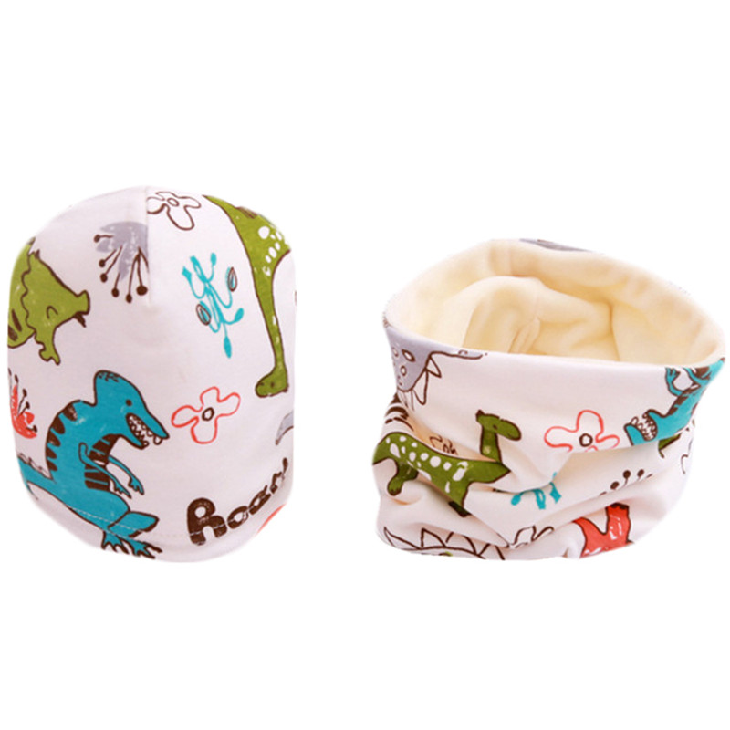New Cartoon Plush Girls Hat Scarf Set Fruit Owl Stars Print Baby Boy Hat Sets Children Warm Neck Collar Cotton Kids Hat 2pcs Set