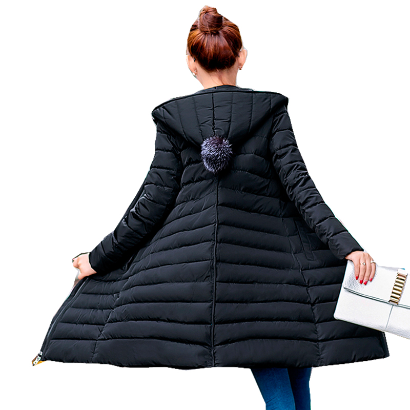 New 2017 Women Cotton Padded Winter Female Fashion Jacket Slim Long Hooded Coat Jackets Pink Grey Black Plus size 3XL 50 fashion floral slim cotton dress cyan grey multi colored size m