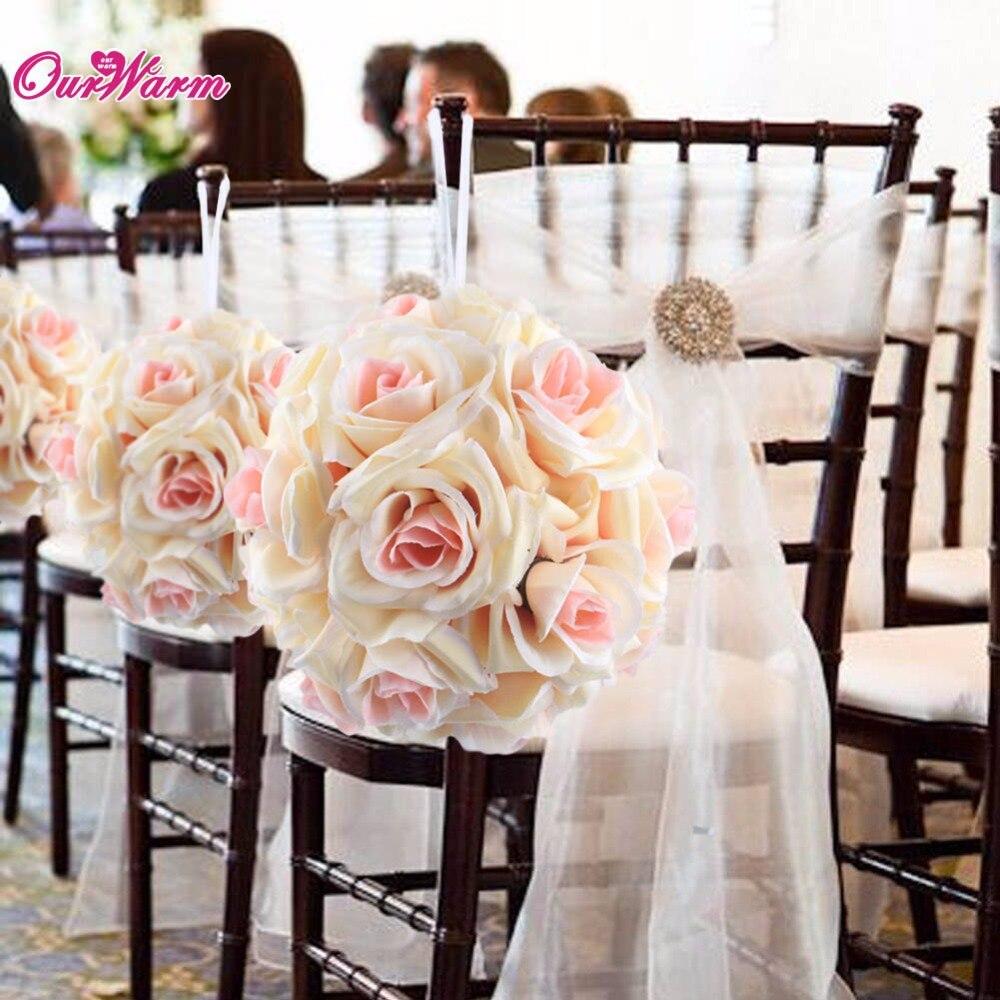 18cm Diameter Silk Rose Flower Ball Artificial Bouquet Kissing Ball