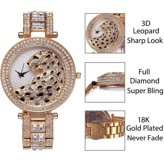 Missfox Women's Leopard Bling 18K Gold Plated Gems & Stones Diamond Female Waterproof Quartz Watches 3