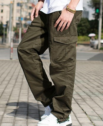 c6358323b352f1 Military Style Black Khaki Army Green Mens Baggy Cargo Pants For Men Casual  Outddor Loose Pants With Multi Pocket Plus Size XXXL-in Cargo Pants from  Men's ...