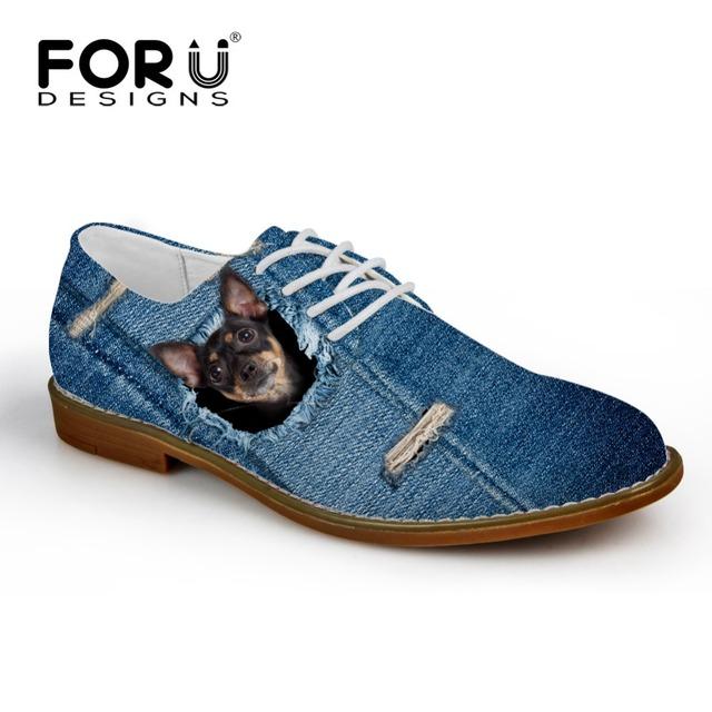FORUDESIGNS Animales del Diseño de Marca de Los Hombres de Mezclilla de Moda Zapatos de Cuero Ocasionales Respirables con cordones Planos de Turistas Y Los Viajeros Masculinos Oxfords Zapatos