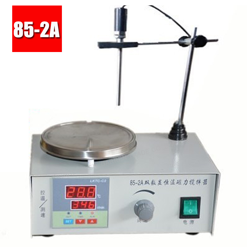 1PC 85-2A Lab Mixer Double digital display Heating Constant temperature Magnetic Stirrer 100-2000r/min 220V