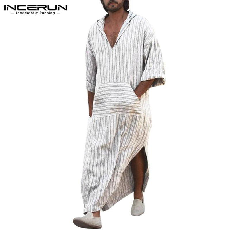 Mens Robe Cotton Linen Kaftan Long Dress Full Length Muslim Style White Stripe Islamic Arabe Bathrobe Lounge Gown Saudi Arabia