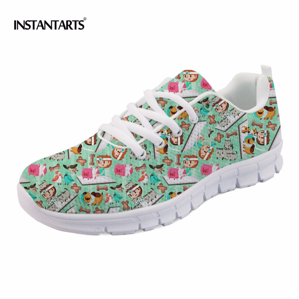 INSTANTARTS Bust Vet Pattern Sneakers Women Lace up Mesh Flats Cartoon Veterinary Female Breathable Flat Shoes Zapatos Mujer instantarts casual women s flats shoes emoji face puzzle pattern ladies lace up sneakers female lightweight mess fashion flats