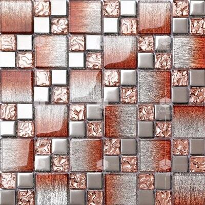 cristal de colores de cristal mezclados chapado de metal mosaico de azulejos ehgmc para backsplash de