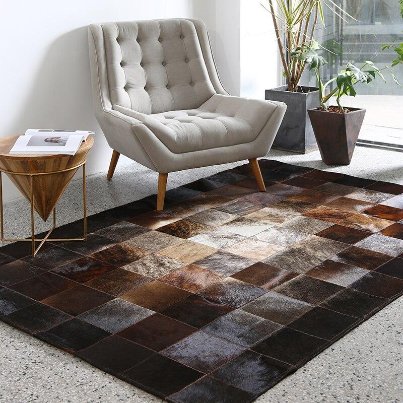 European Style Geometric Grid Carpets Living Room Bedroom Tea Table Rugs Cowhide Manual Stitching Carpet Luxurious Large Rug