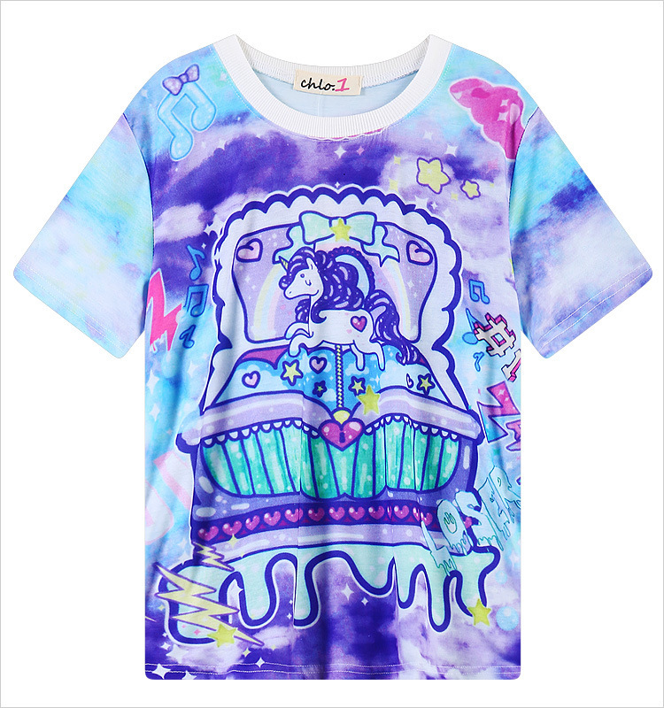 728c427c51 2016 kawaii style tie dye t shirt My Little Pony Unicorn rainbow dash Print t  shirt short sleeve cartoon tees moletom women tops-in T-Shirts from Women s  ...