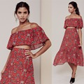 Women Love Pia Crop Top And Pia Midi Skirt Set Elastic Off Shoulder Red Floral Print Summer Chiffon Crop Top And Midi Skirt Set