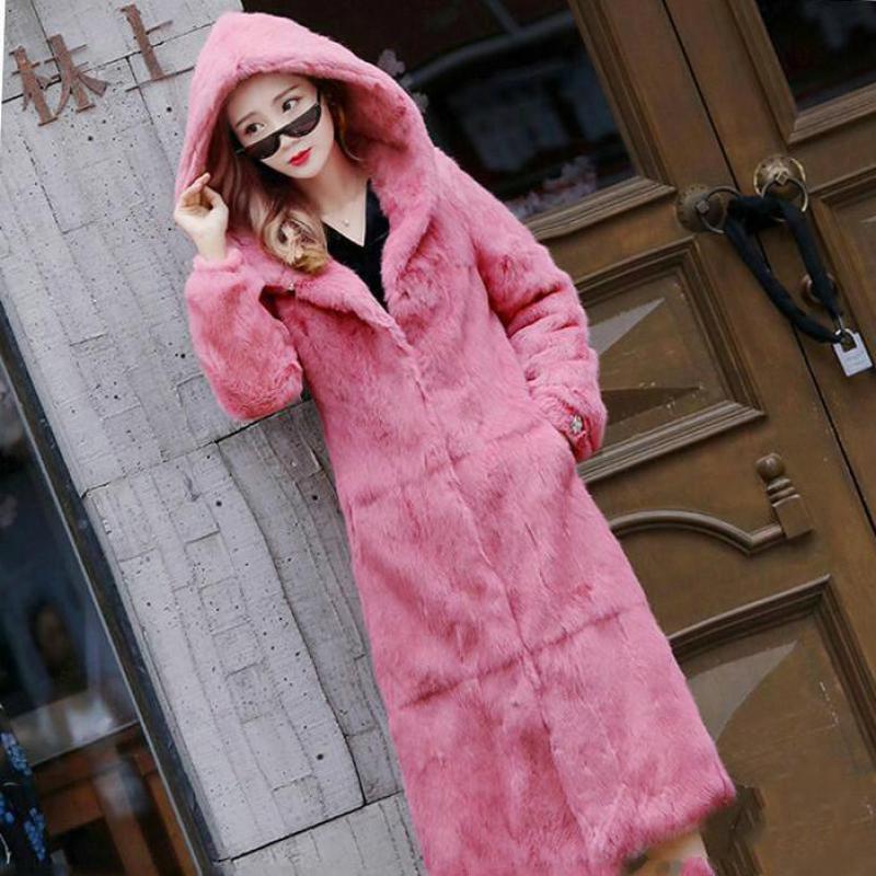 2019 nouveau manteau de fourrure de lapin femme Long à capuche manteau à manches longues Slim
