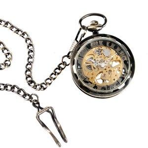 Image 5 - Vintage bronce engranaje de esqueleto esfera de oro de lujo mecánico cuerda a mano reloj de bolsillo reloj analógico Steampunk Fob reloj regalo