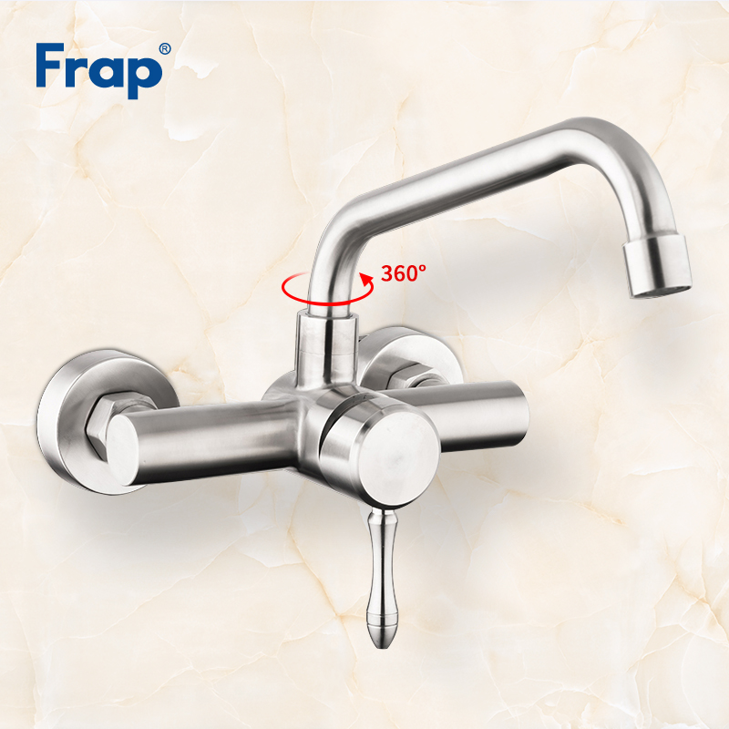 Frap New Wall Mounted Kitchen Faucet Single Handle Mixer Taps Dual Holes Hot and Cold Water Tap Crane 360 Degree Rotation Y40085 цены онлайн