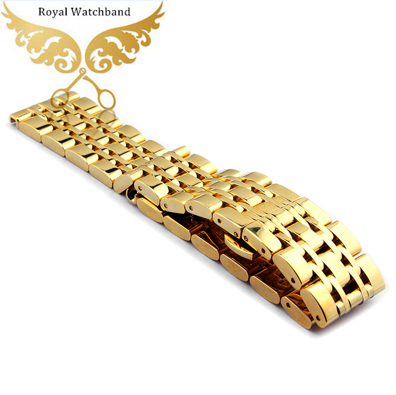 Watchband 22mm New Men Pure Gold Solid Stainless Steel Watch Bands Strap Bracelets Fit AR1648 AR1677