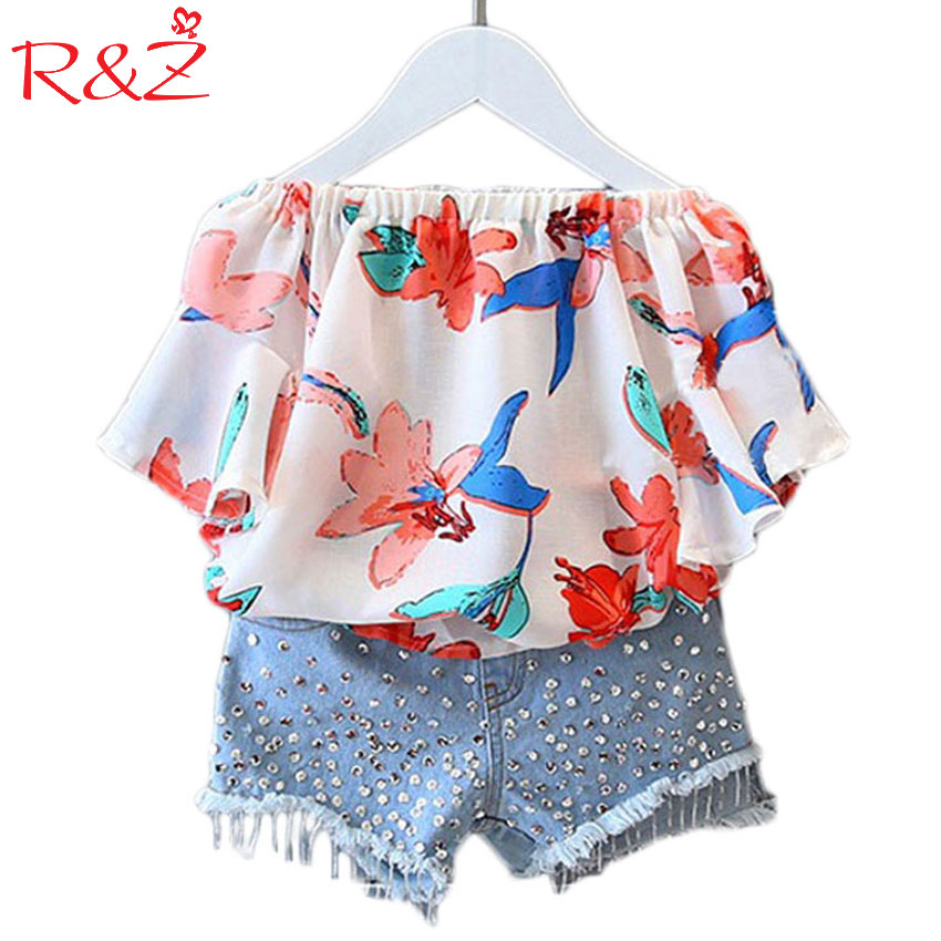 2017 Girls Clothes Suit Chiffon Blouse and Denim Shorts 2pcs / Set Fashion Word Collar Strapless Shirt Diamond Children's Suit mother and daugther summer girls set embroidered blouse and butterfly embroidered shorts 2 pcs suit brand clothing high quality