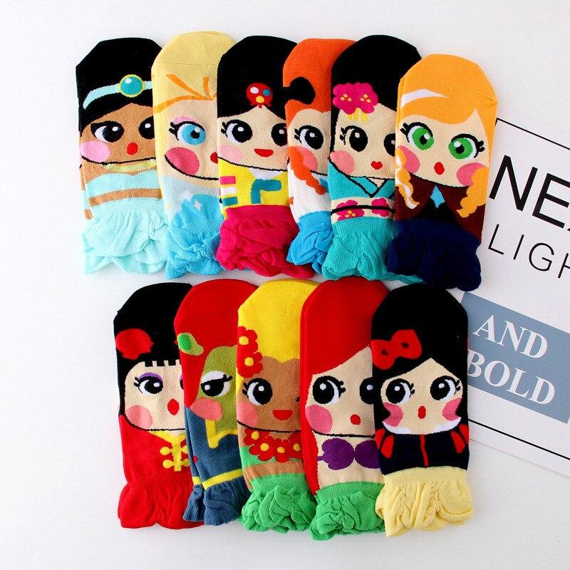 Summer Women Girl's Cute Cartoon Ankle Art Socks Kawaii Ladies Korea Cotton Funny Socks Princess Jasmine Mermaid Fashion Sock