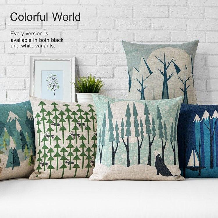 Nordic Modern Snow Pillows Cushions Forest Tree Deer Pillow Thick Linen Pillowcase Sofa Cushion Home Decorative Pillows