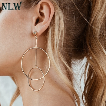NLW High Street Fashion Ring Earrings Golden Club Elegant Earring Jewelry Simple Double Cross Earrings Accessory earrings