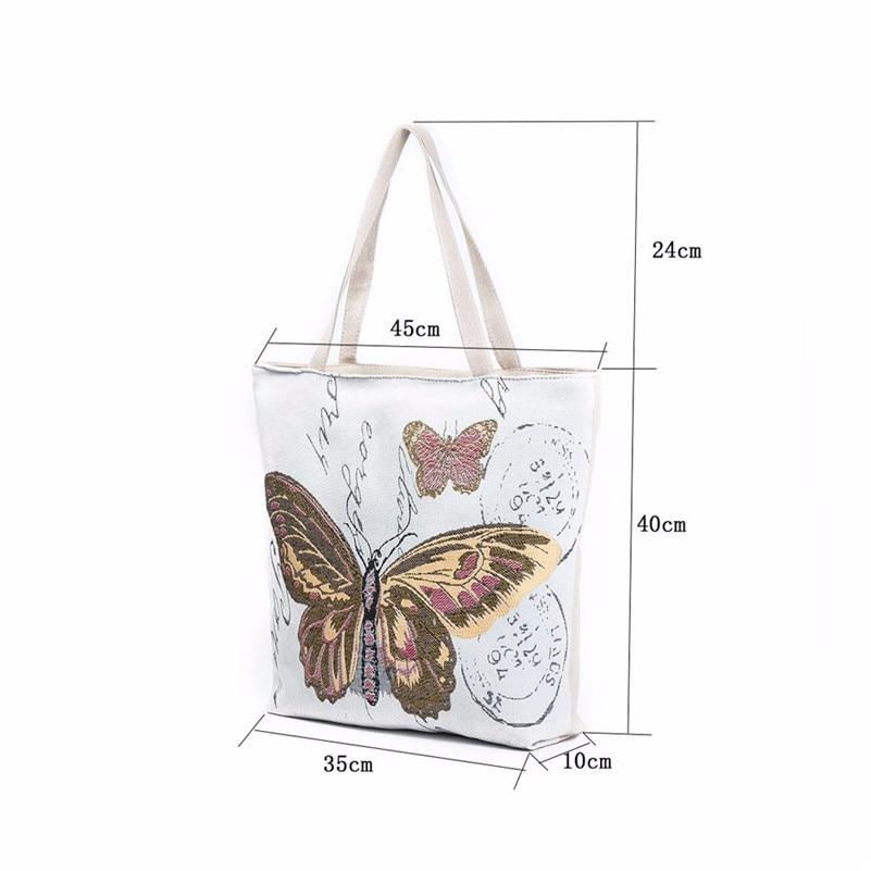 2017 Fashion Design Butterfly Printed Canvas Tote Casual Beach Bags Women Shopping Bag Handbags High Quality Sac Bolsa A8