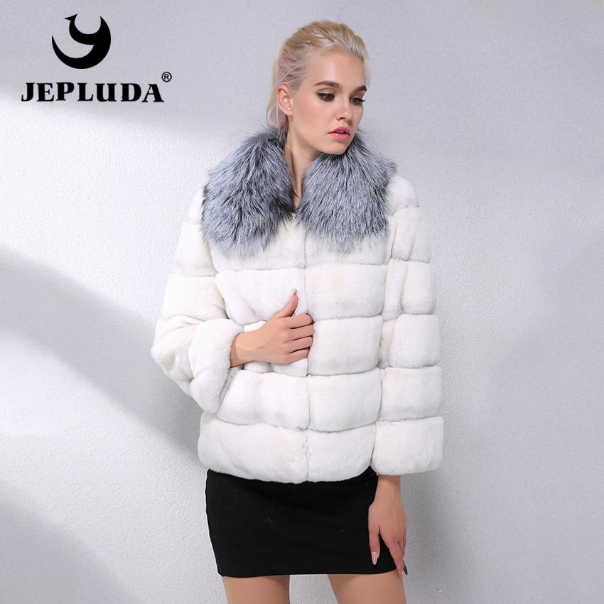 JEPLUDA Fashion Natural Rex Rabbit Fur Coat Short Fox Fur Collar Winter Real Fur Coat Women Leather Jacket Thick Warm Fur Jacket