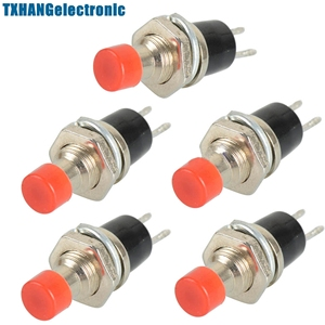 5PCS Red Lockless ON/OFF Push button Switch Press the reset switch PBS-110