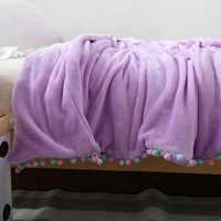 1 PCS 200 230CM 150 200CM Flannel Blankets With Ball Lace Coral Soft Blanket For Home