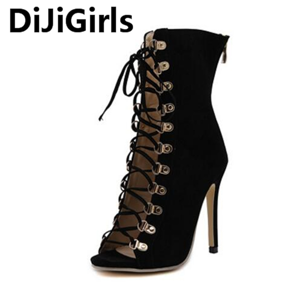DiJiGirls Autumn Women Ankle Boots High Heels Boots Fashion Prom Shoes Ladies Black Women Pumps Peep Toe Shoes