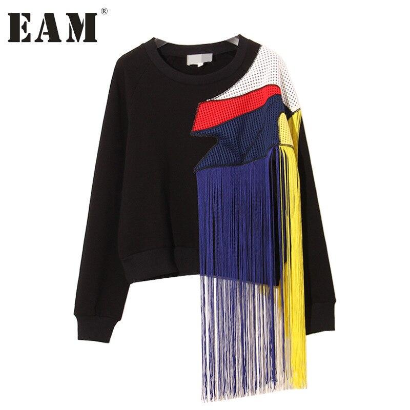 [EAM] 2019 printemps col rond à manches longues nouveau lourd arc-en-ciel gland couture maille fil grand épais noir Sweatshirts AS26011