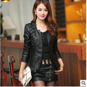 Горячая Распродажа! M L XL XXL XXXL XXXXL новая осенняя женская кожаная куртка размера плюс, женская верхняя одежда, брендовые куртки из искусственной кожи A0313 - Цвет: black