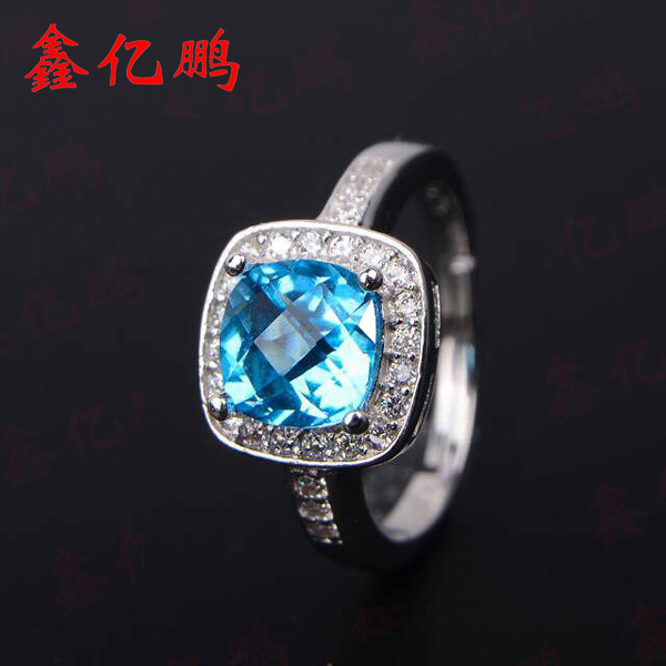925 silver inlaid natural topaz stone ring female925 silver inlaid natural topaz stone ring female