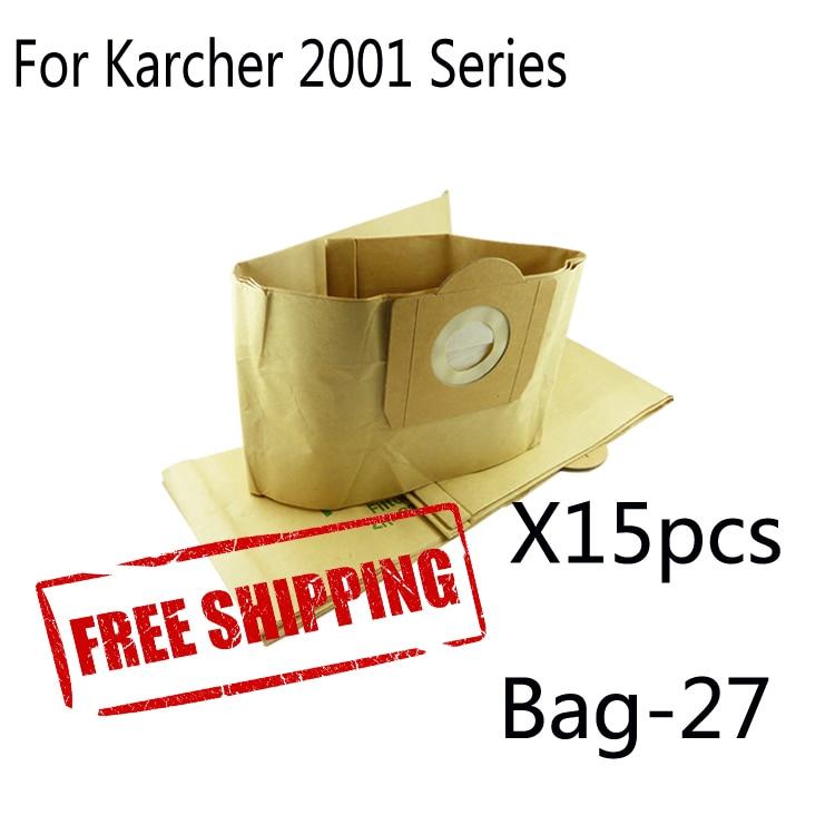 цена на 15 pcs Paper dust bag for  KARCHER A3100 INOX K2150 K225 SE4001 T111 T151 T201 VCP3811 VACUUM CLEANER DUST BAGS