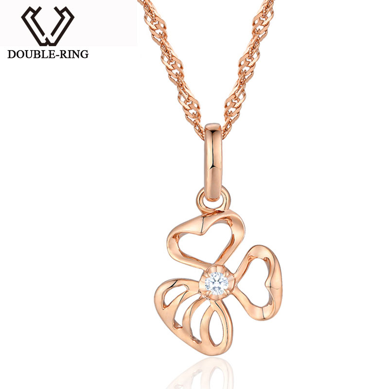 DOUBLE-R Flower 0.02ct Diamond Pendants Girls 925 Sterling Silver Rose Gold Necklaces Birthd Gift Diamond Jewelry CAP03762SA-3