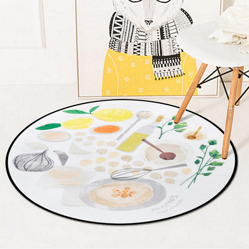 Funny Fruit Pattern Decorative Floormat Computer Chair Living Room Bedroom Round Carpet Rugs Non-Slip Tea Table Circle Carpets