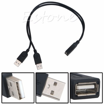 New USB 2.0 FeMale to 2 Dual male Jack Y Splitter Hub Cord Adapter Cable 39cm USB Hubs