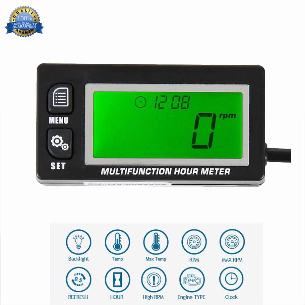 Multifunction Hour Meter Tachometer Voltmeter with Clock 2 & 4