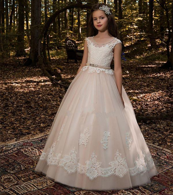 Vintage Flower Girl Dresses for Wedding Jewel Neck Ankle Length Girls Pageant Gown With Lace Beaded Sash Backless Communion Gown