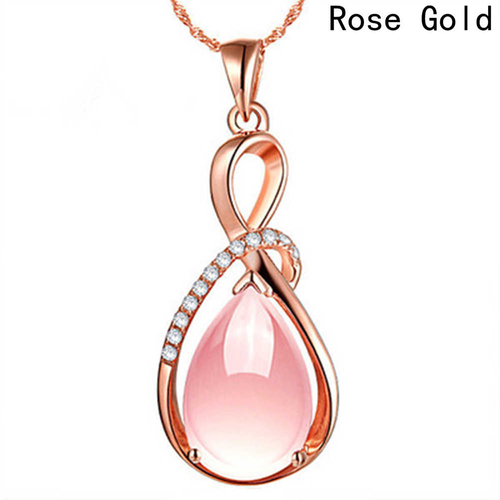zheFanku Smart Natural Powder Crystal Stone Rose Gold Color Pendant Water Drop Pendant Female Women Jewelry Pendant