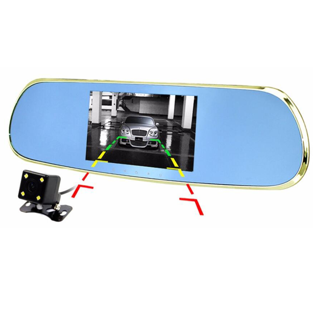 Android 4.4.2 car DVR full hd 1080p video recorder 5.0 inch dual lens Dash Cam GPS navigation WiFi FM rear view mirror new 5 android touch car dvr gps navigation rearview mirror car camera dual lens wifi dash cam full hd 1080p video recorder