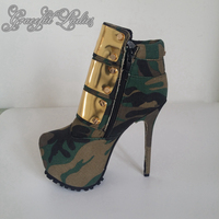 2016 Real Image Camouflage Fashion Boots Cheap Custom Made High Thin Heels Buckle Strap Zapatos Mujer