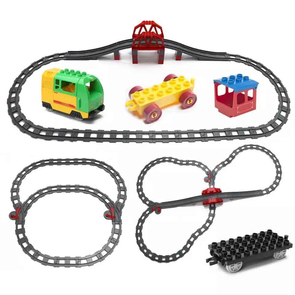 Big Size Building Blocks Train Track accessories Points Crossover Bridge Parts Railway Bricks Compatible Duploed toys