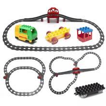 Tamanho grande blocos de construção acessórios da trilha do trem pontos crossover ponte peças tijolos ferroviários compatível duploed brinquedos