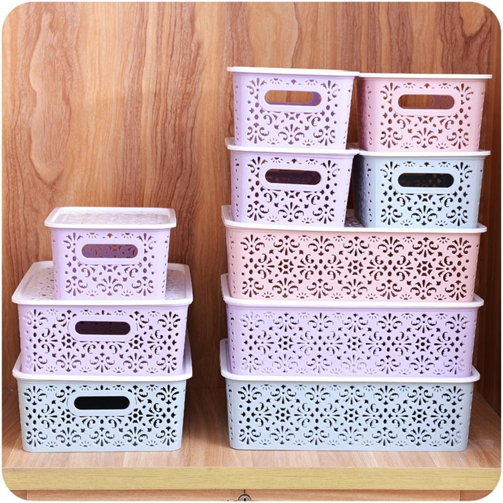 SaiDeng Creative Plastic Desktop Hollow Storage Basket Underwear Storage Box Kitchen Organizer Clothes Toys Storage Container
