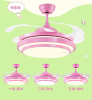 Ceiling fans lamp 36/42 inch LED children room boy football remote control 3 color ceiling fan light girl princess lamp pink