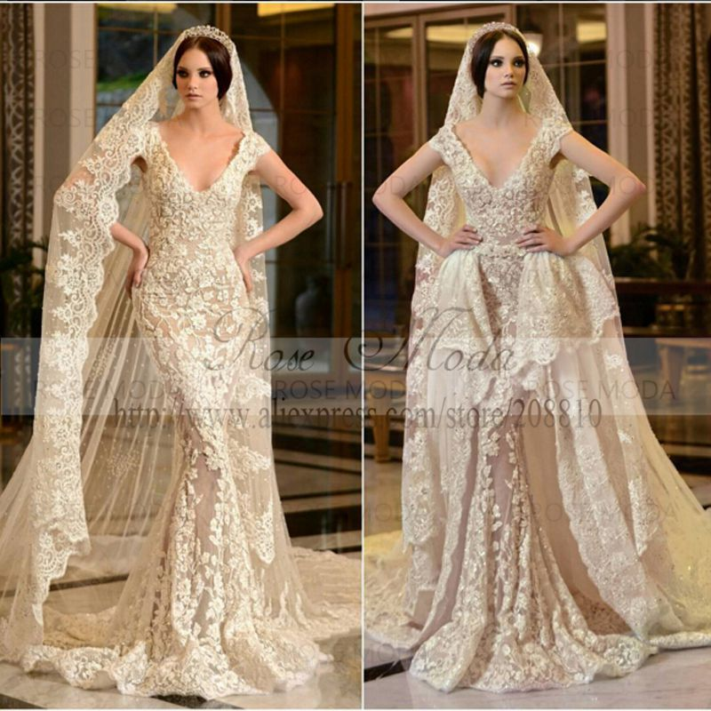 Y Deep V Neck Short Sleeves Ivory Over Champagne Lace Sheath Wedding Dress With Removable Train In Dresses From Weddings Events On