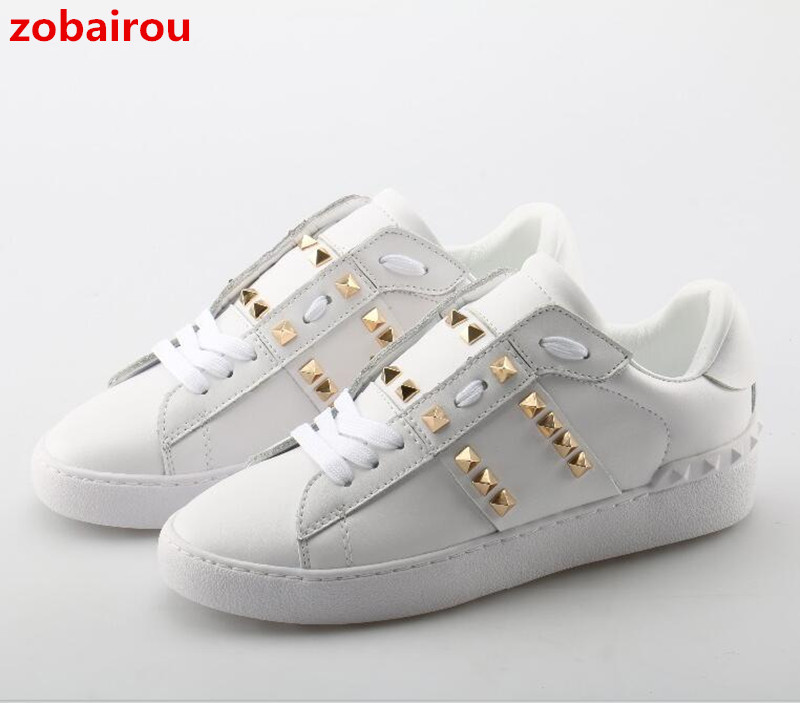 Spring Gold Rivets Studded Men Sneakers Genuine Leather Lace Up Casual Shoes Comfortable Low Tops Zapatos Hombre Size 46 klywoo new white fasion shoes men casual shoes spring men driving shoes leather breathable comfortable lace up zapatos hombre
