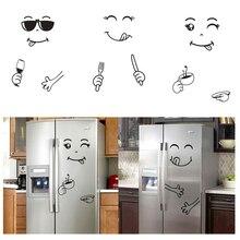 Клевый стикер Холодильник счастливый вкусное лицо кухонный Холодильник настенные художественные наклейки милый смайлик наклейка на холодильник домашний декор